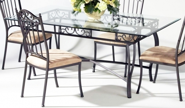 Glass And Metal Dining Table With Wrought Iron Kitchen Chairs Image 89