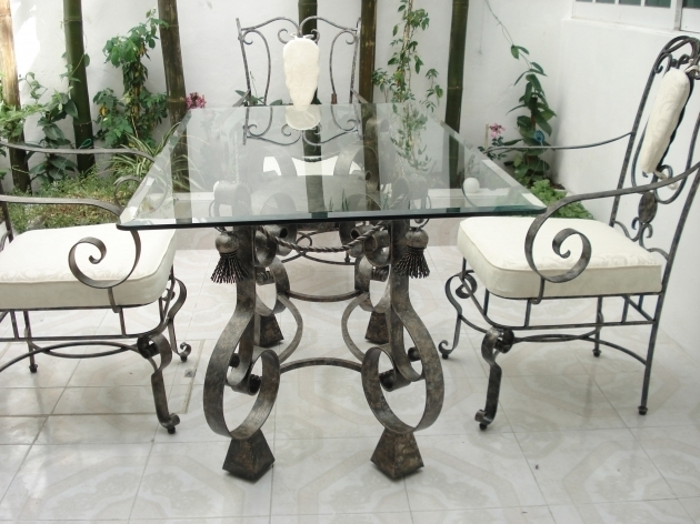 Outdoor Wrought Iron Kitchen Chairs With Rectangular Glass Top For Table Picture 19