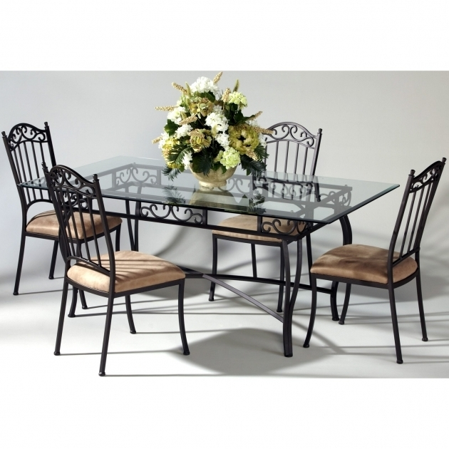 Wrought Iron Kitchen Chairs Chintaly Bethel 5 Piece Rectangular Images 24