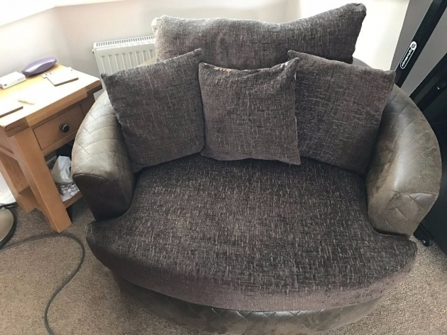 Large Brown Fabric Round Swivel Cuddle Chair Picture 34