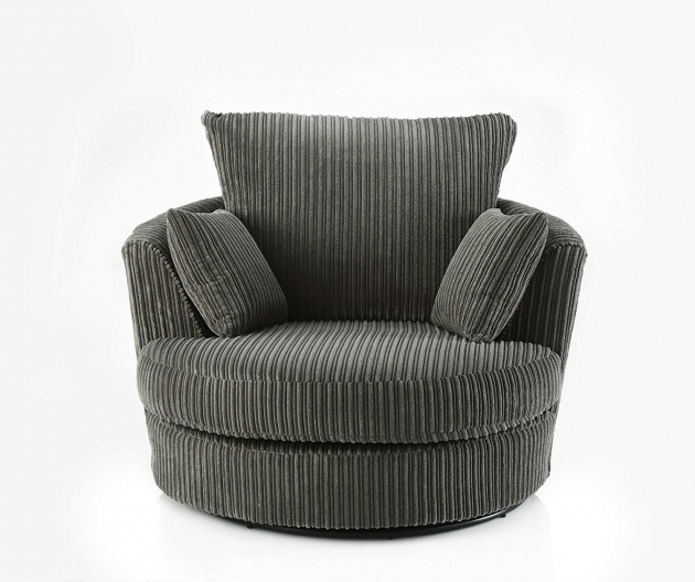 Swivel Round Cuddle Chair Fabric Chenille Leather Round