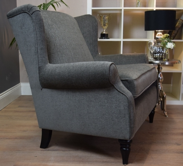 Sherlock Large Vintage Cuddle Chair Style Wing Back Grey Elegant Velour Image 89
