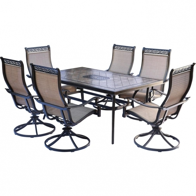 Hanover Monaco 7 Piece Aluminum Outdoor Dining Set With Rectangular Hanover Monaco Swivel Rocker Chair Photo 05