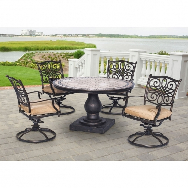 Shop Hanover Mondn5pcsw 4 Monaco Tan Aluminum 5 Piece Outdoor Dining Set Hanover Monaco Swivel Rocker Chair Pictures 11