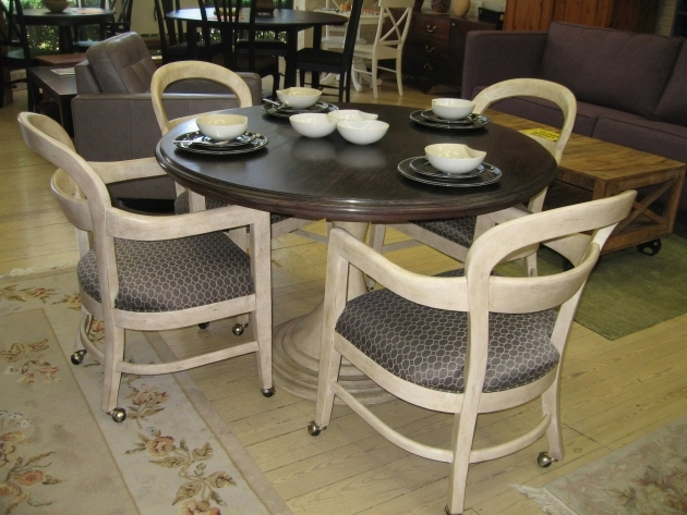 Classy Kitchen Table With Rolling Chairs Photo