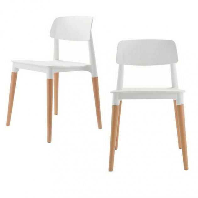 Classy Wood Leg White Accent Chairs Image