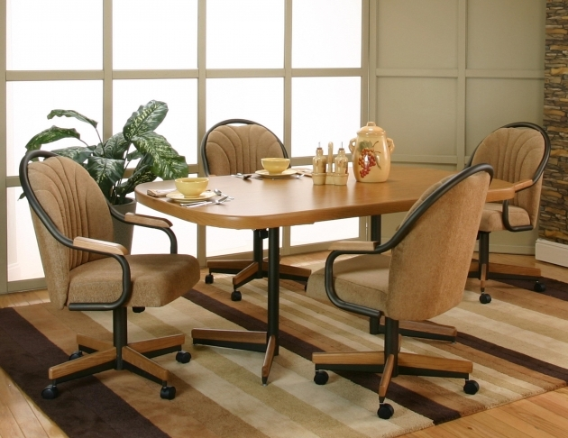 Contemporary Kitchen Table With Rolling Chairs Photo