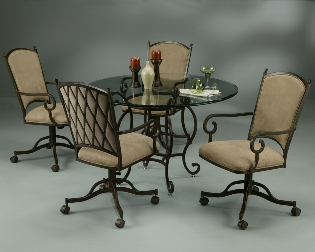 Elegant Kitchen Table With Rolling Chairs Pics