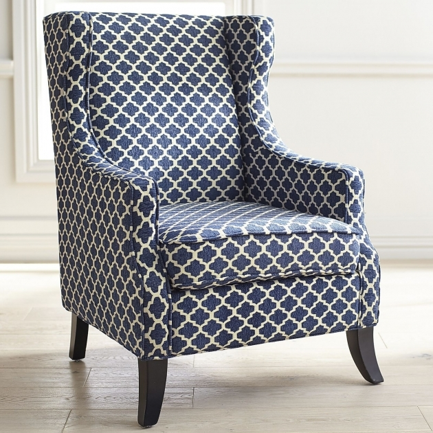 Elegant Navy And White Accent Chair Photo