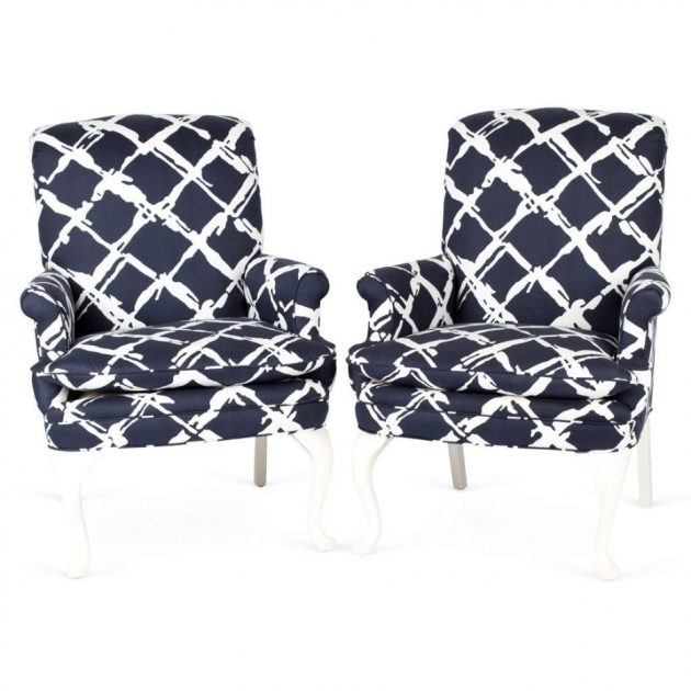Fresh Blue And White Accent Chair Photo
