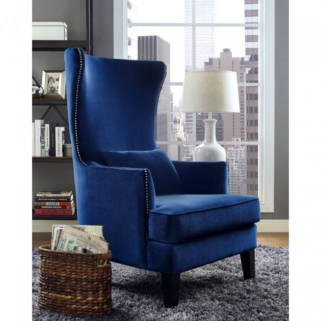 Splendid Navy And White Accent Chair Pic