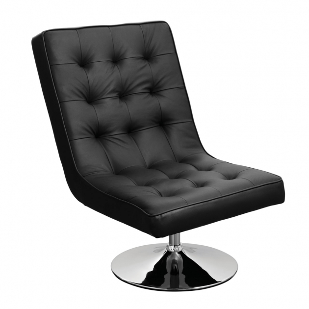 Barcelona Faux Black Leather Swivel Chair Photos 30