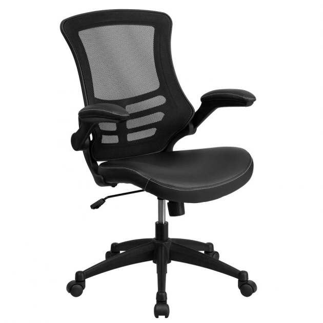 Best Office Chair For Back Pain High Back Black Mesh Executive Swivel Office Chair Flip Up Arms Photos 69