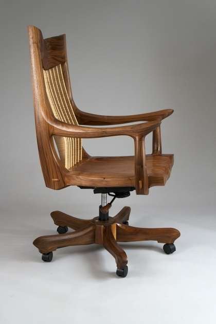 Antique Wooden Swivel Desk Chair Image 04