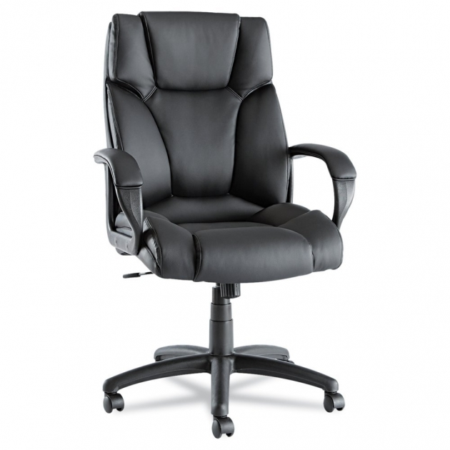 Black Leather Comfortable Office Chairs Upholstery Padded Design Nylon Base Image 12