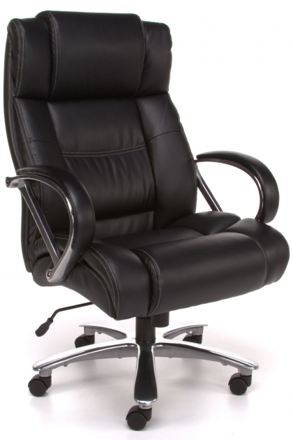 Black Leather Upholstery Comfortable Office Chairs Padded Design Chrome Base With Casters Penumatic Seat Pictures 40