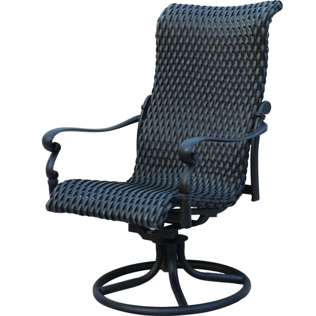 Black Painted Rattan Webbing Accent  High Back Swivel Rocker Patio Chairs Images 38