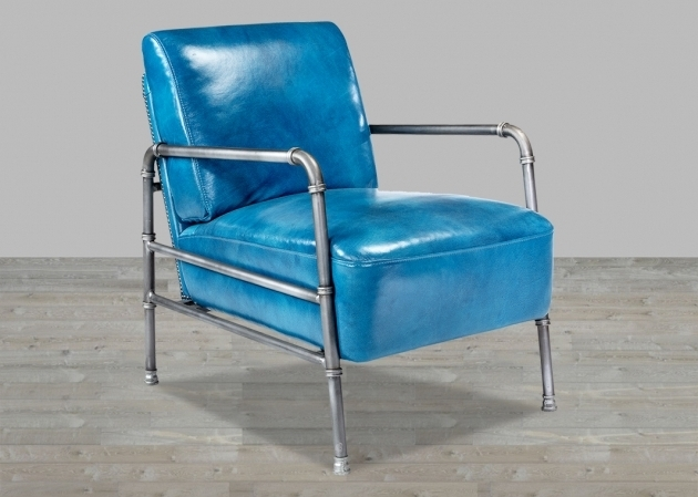 BlueTop Grain Leather Club Chair With Metal Frame Photo 94