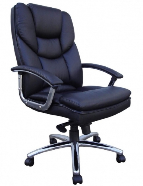 Comfortable Office Chairs Black Leather Upholstery Padded Seat And Back Tilt Lock Control Seat Images 98