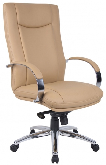Comfortable Office Chairs Faux Leather Upholstery Padded Armrest Chrome Base Pictures 21