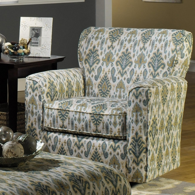 Contemporary Swivel Upholstered Chair With Flared Arms And Welt Photos 45