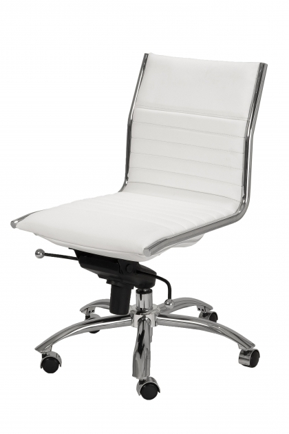 Furniture White Armless Office Chair Design Contemporary Adjustable Mid Back Style Photo 22
