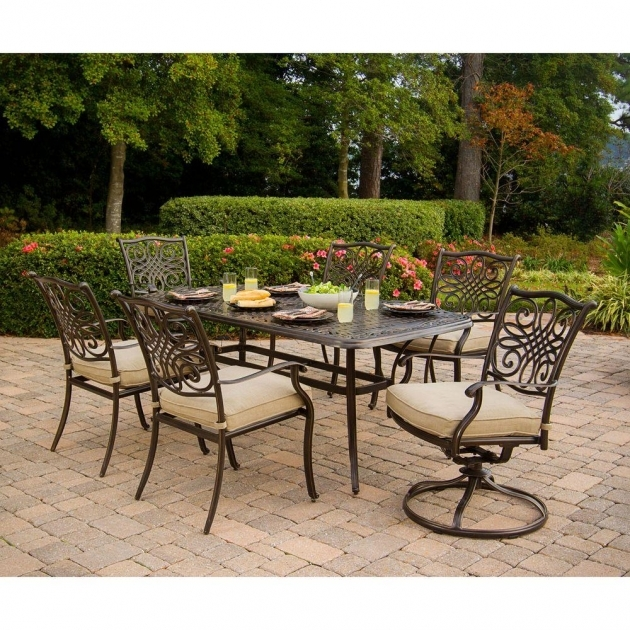 Hanover Traditions 7 Piece Patio Outdoor Swivel Dining Chairs Pictures 71