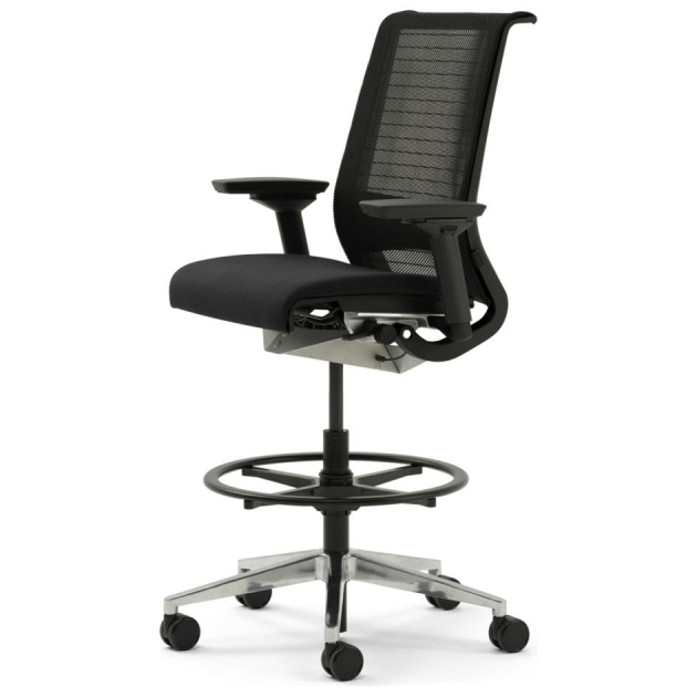 High Back Drafting Tall Office Chairs For Standing Desks Mesh Back And Fabric
