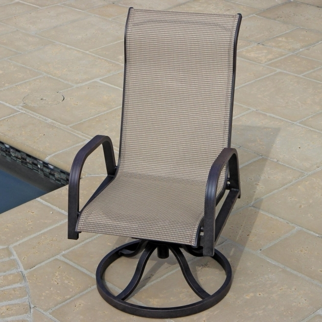 Madison Bay 3 Piece Sling High Back Swivel Rocker Patio Chairs Bistro Set Images 72