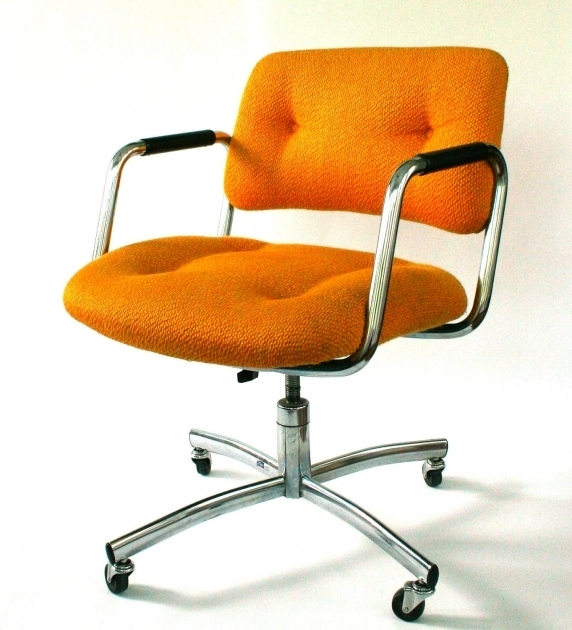 Orange Office Chair Color Tufted Design Metal Frame Material Polished Chrome Finish Pictures 74