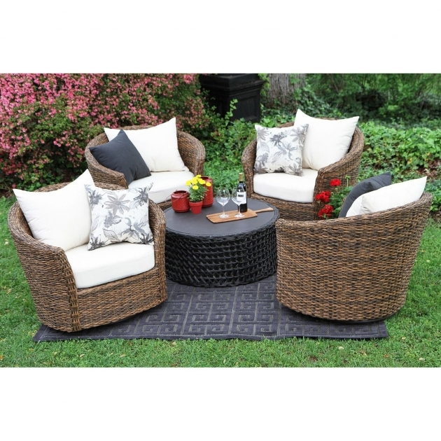 Outdoor Swivel Chairs 5 Piece All Weather Wicker Image 47