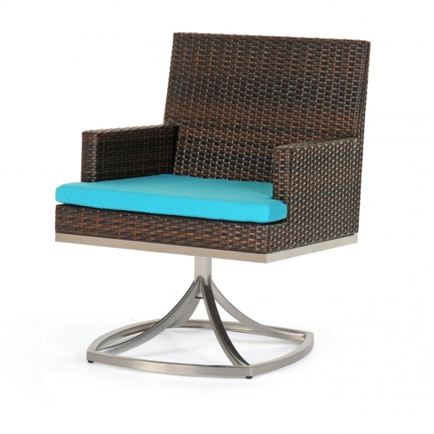 Outdoor Swivel Chairs Caluco Mirabella Resin Wicker Patio Swivel Rocker Dining Arm Chair Photo 03