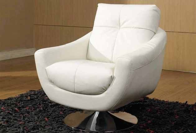 Plain White Living Room Swivel Upholstered Chair Above Black Shag Carpet Images 72