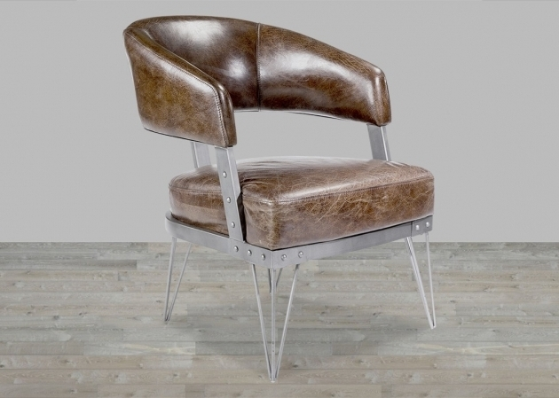 Top Grain Leather Club Chair With Metal Frame Images 29