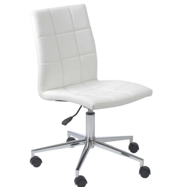 White Armless Office Chair Computer With Wheels Pictures