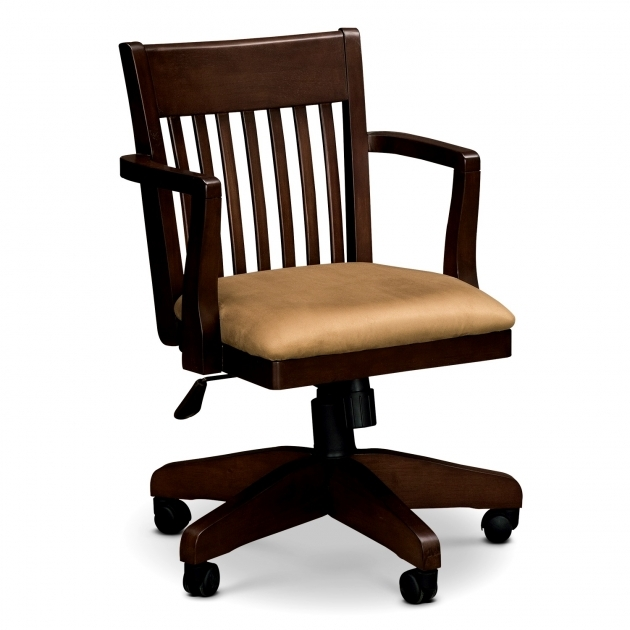 Wooden Swivel Desk Chair - Whitevan