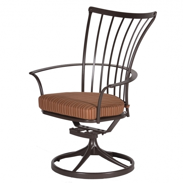 Wrought Iron High Back Swivel Rocker Patio Chairs With Curved Arms Pictures 67