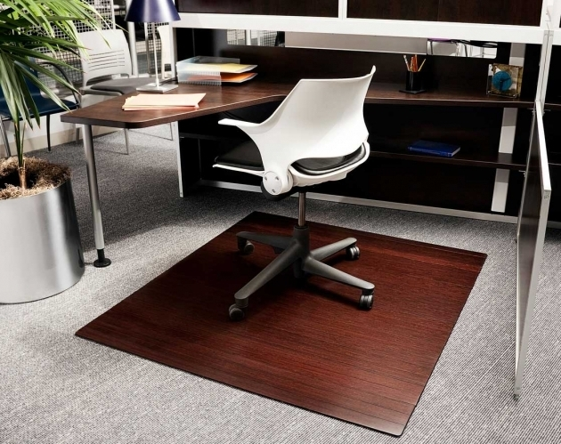 Bamboo Office Chair Mat For Wood Floors With Natural Dark Cherry Finish Image 95