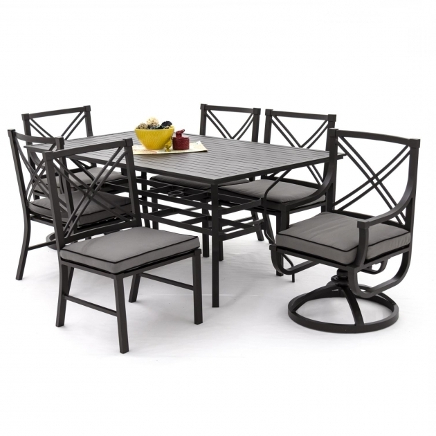 Beautiful 7 Piece Patio Dining Set With Swivel Chairs Rockers Aluminium Images 24
