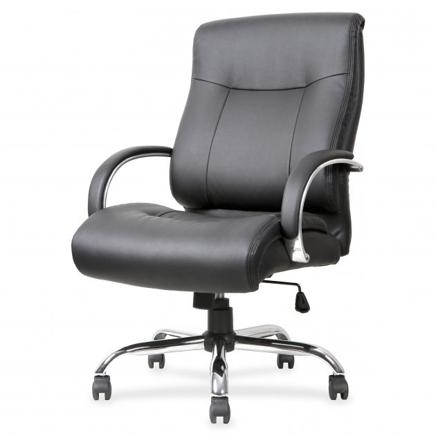 Big And Tall 500 Lb Office Chair Leather Upholstry Dark Gray Color Ideas Padded Armsrest Chrome Base Image 03