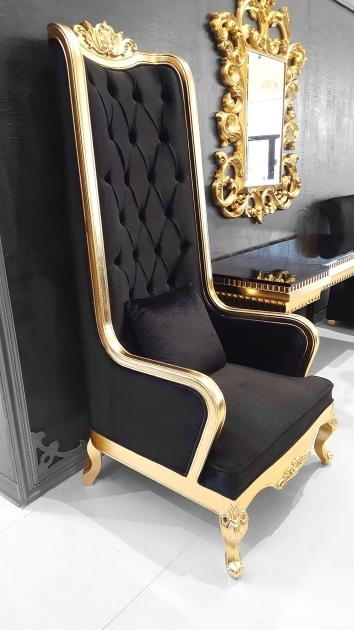 Black And Gold High Backed Throne Chair Photos 95