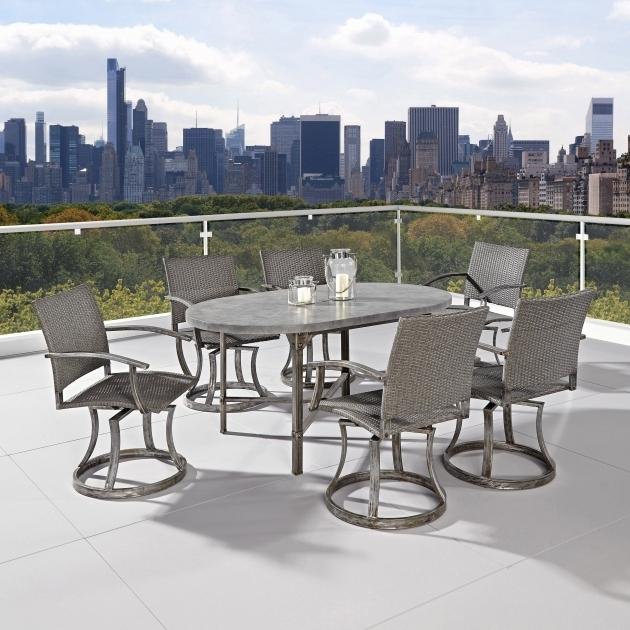 Cozy Urban Outdoor 7 Piece Patio Dining Set With Swivel Chairs Pictures 44