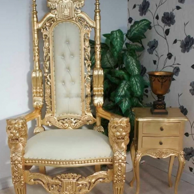 High Backed Throne Chair Gold Image 69