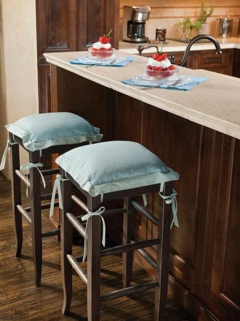 High Chair For Kitchen Counter Allure Of French And Italian Decor Ideas Blue Cushioned Bar Stools Image