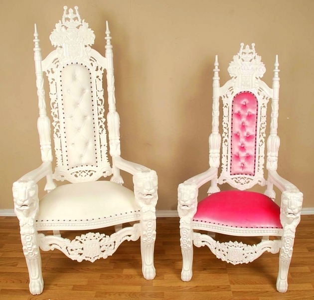 King Lion White High Backed Throne Chair And Pink Queen Pictures 33