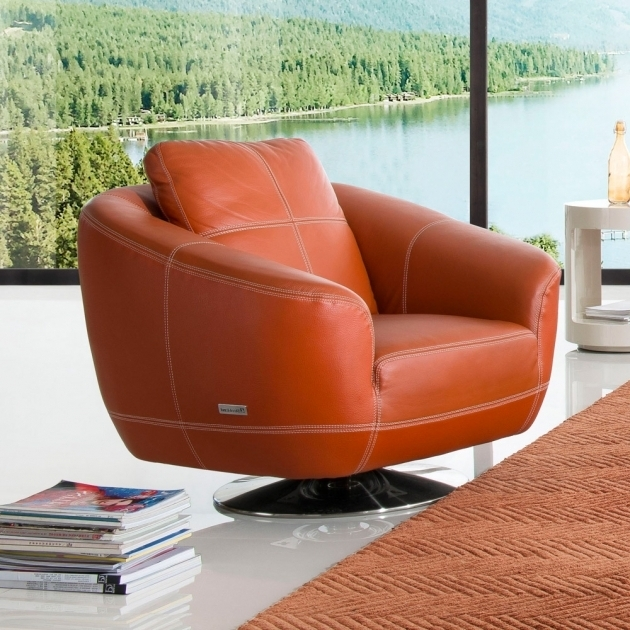 Lucy Leather Orange Swivel Chair Sectional Sofa Picture 87
