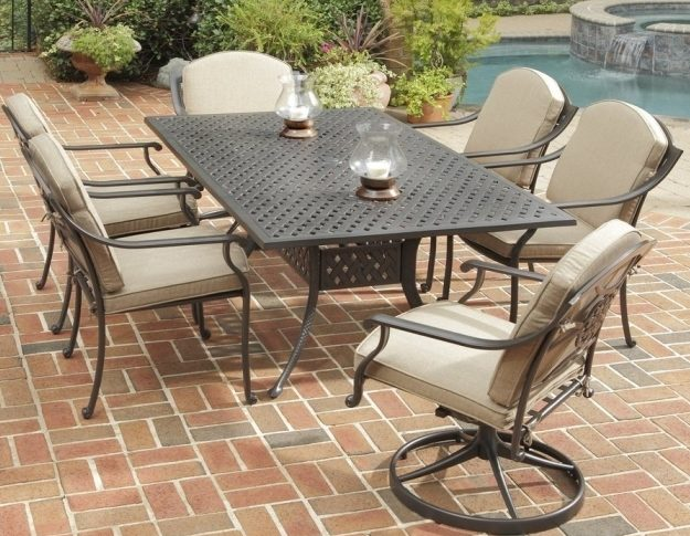Marvelous Covington 7 Piece Patio Dining Set With Swivel Chairs Metallic Chocolate Aluminum Image 46
