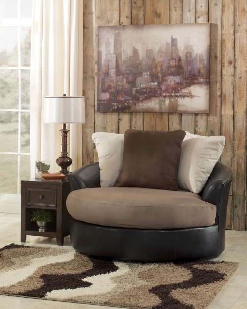 Oversized Swivel Accent Chair Masoli Mocha Faux Leather Fabric Image 96