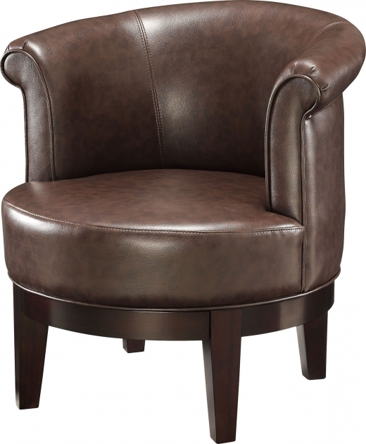 Round Brown Leather Swivel Accent Chair With Arms And Back Picture 23