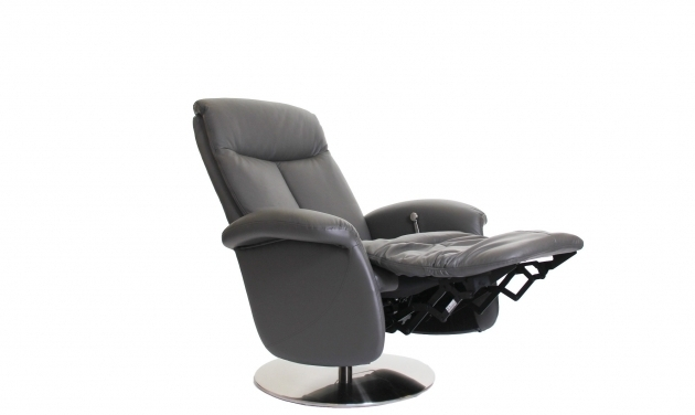 Swivel Recliner Chair Iron Grey Cow Hide Leather Photos 31
